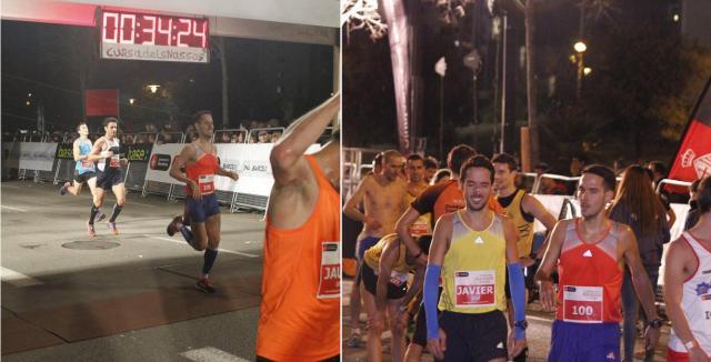 Llegando a meta y recién terminada la carrera junto a mi hermano.