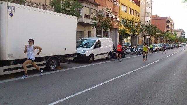 Javi en la recta final de los 5k de Pallejà.