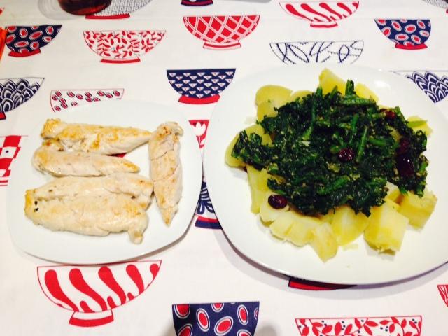 Acelgas con patata y pollo a la plancha.