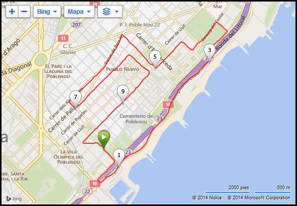 Recorrido Cursa Vila Olímpica 10k