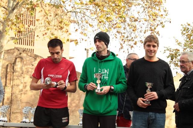 Tres primeros clasificados de la Cursa de La Sagrera.