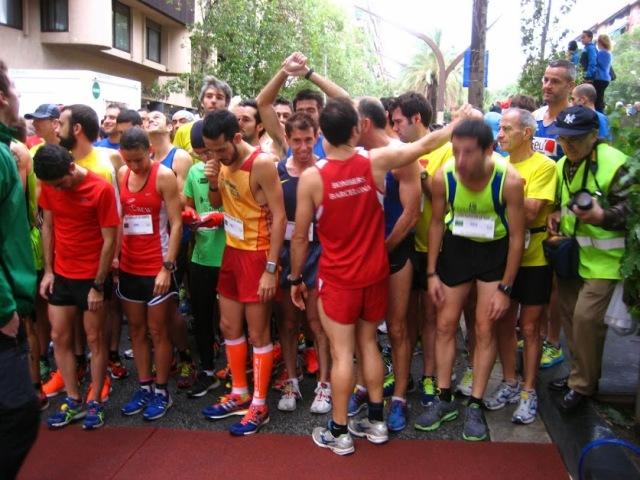 En la línea de salida instantes antes de que arrancara la cursa.