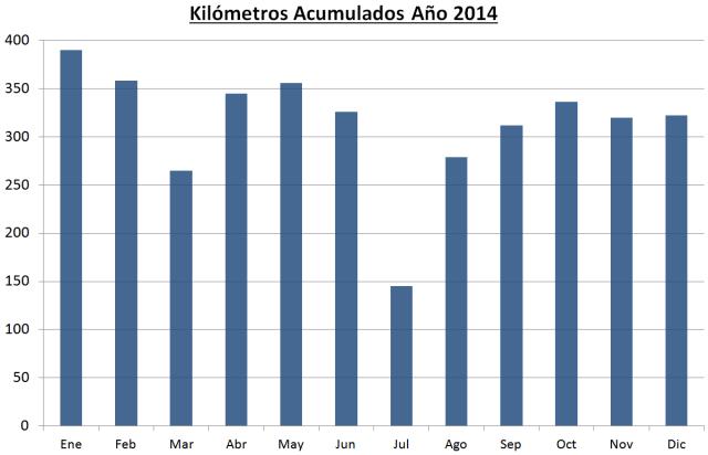 Kilómetros acumulados año 2014.