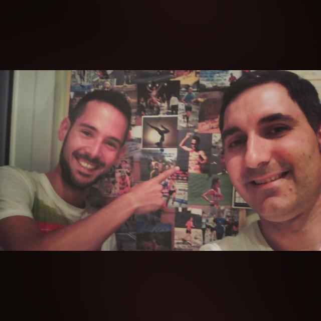 Con Carlos Carbonell tras realizarme el masaje de descarga.