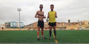 Entrenando con mi hermano en Fuengirola, durante el mes de agosto.